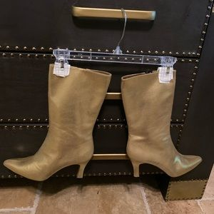 Women's metallic mid calf boot